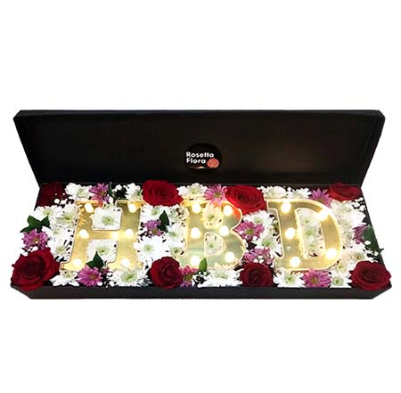 LED Alphabetic Floral Box | Flower shop in Karachi