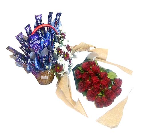 Roses Bouquet & Chocolate Gift Basket | Send Anniversary Flowers to Pakistan