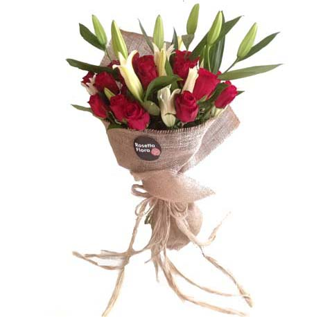 Roses & Lilies Bouquet | Send Mothers Day Flowers to Pakistan