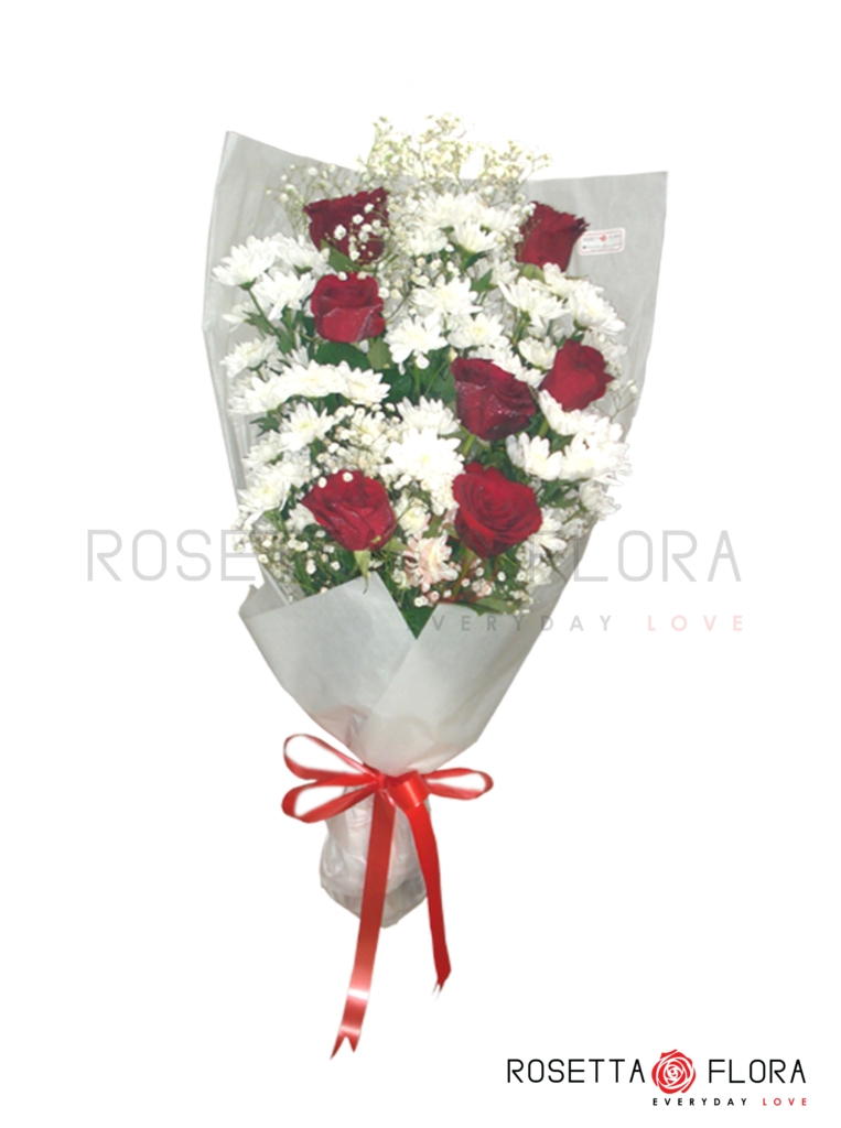 This sensational Bouquet which is made up of fresh imported flowers roses, chrysanthemum & gypso is going to leave a lasting impression. 7 Roses, 7 Chrysanthemum & 2 Gypso. Disclaimer: The actual product may vary slightly. Outlet # Khadda Market Defence Karachi