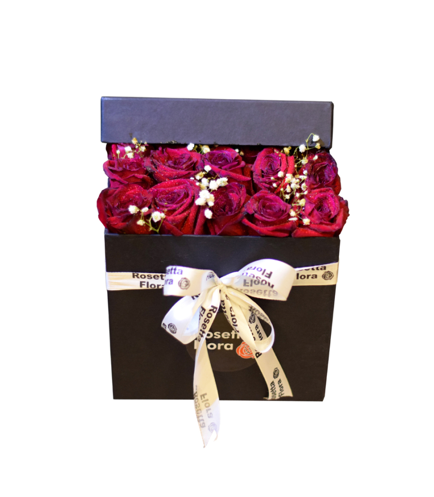Blooming Love Black Square Box | Flower shop in Karachi