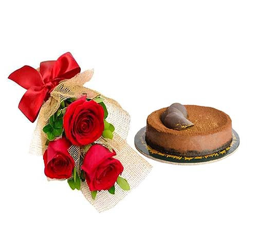 Chocolate Heaven Cake & Roses Bouquet | Flower shop in Karachi