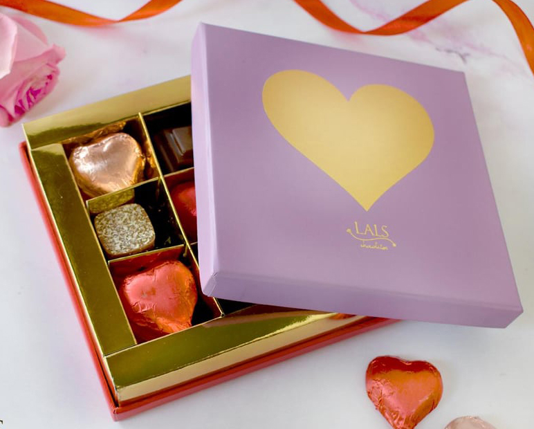 Lilac Heart Chocolate Box 9 Pieces | Flower shop in Karachi