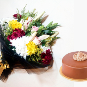 Nutela Cake & Colorful Bouquet | Flower shop in Karachi
