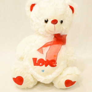 12 Inches White Teddy Bear Holding Love Heart | Flower shop in Karachi