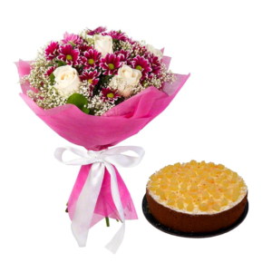 Pina Colada Cake with Daisy & Roses Bouquet | Flower shop in Karachi