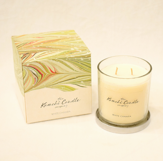 White Champa Scented Candle   Flower shop in Karachi