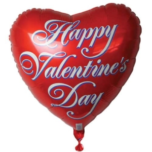 Happy Valentines Day Red Heart Inflated Foil Balloon | Flower shop in Karachi