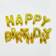 Happy Birthday Golden Letters Foil Balloons | Flower shop in Karachi