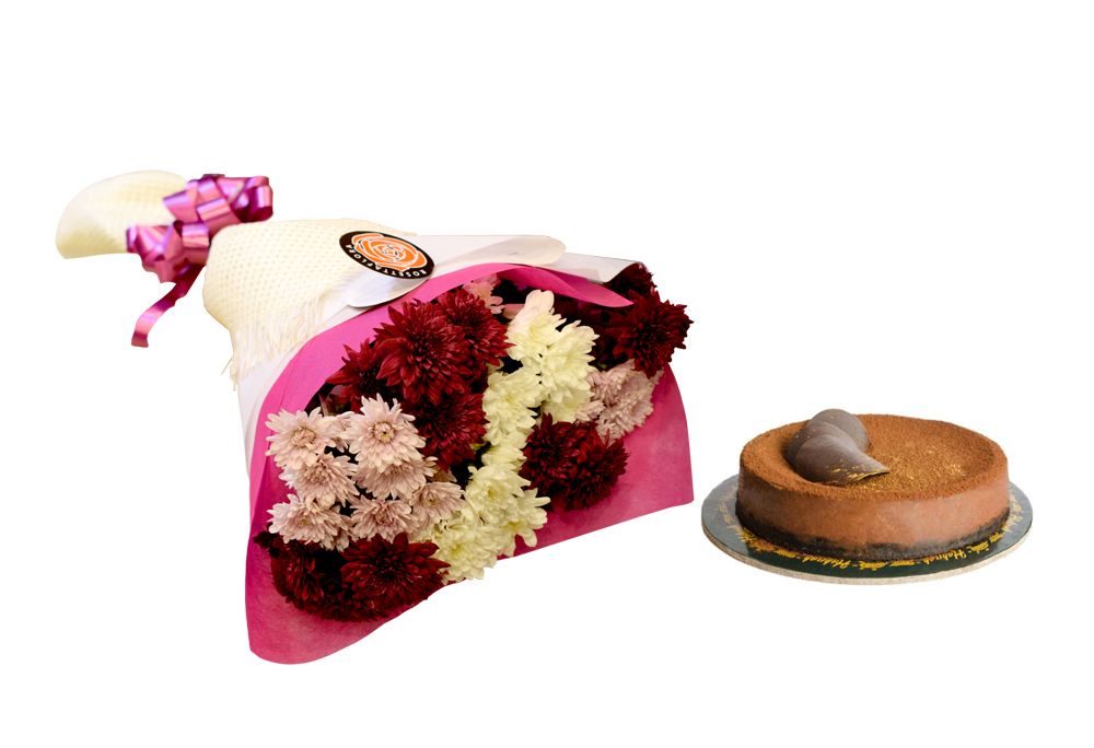 Chocolate Heaven Cake & Pretty Bouquet | Send Birthday Flowers Gifts to Pakistan
