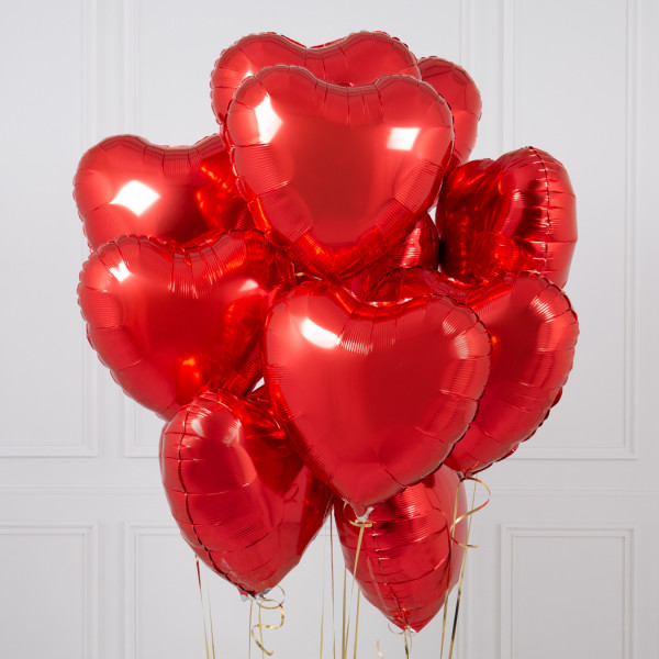 One Dozen Red Heart Inflated Foil Bunch | Flower shop in Karachi