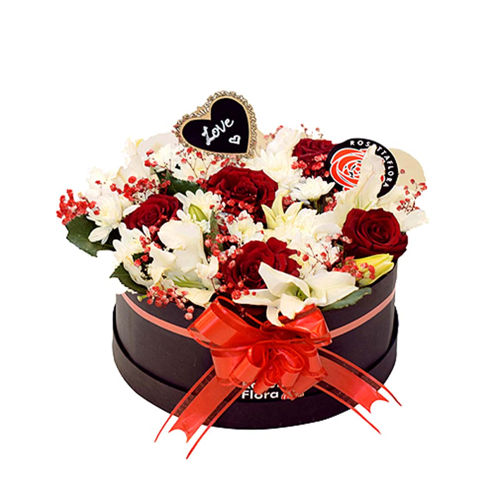 Simply Red, White & Black Round Box | Send Flowers to Pakistan
