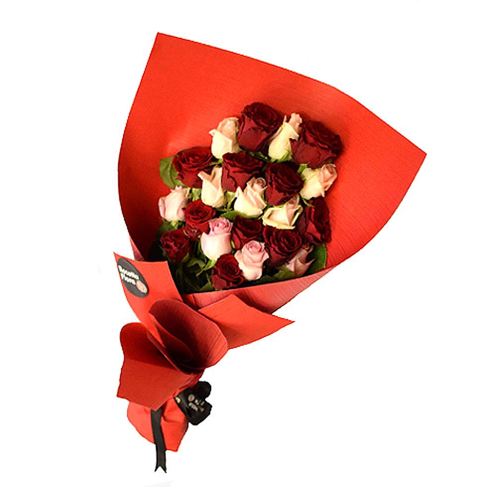 Red & Pink Roses Bouquet | Flower shop in Karachi