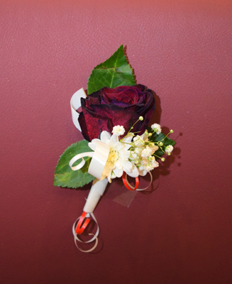 Red Rose and Daisy Boutonniere