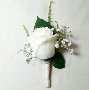 White Rose and Gypso Boutonniere | Flower shop in Karachi