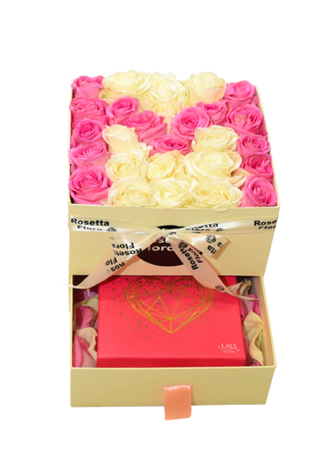 Pink Roses of M Draw Box | Flower shop in Karachi