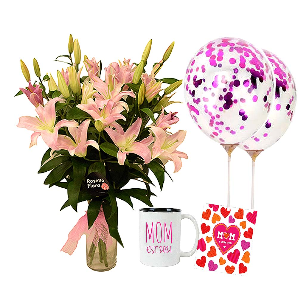 Lilies Vase with Mug & Balloons | Send Birthday Flowers Gifts to Pakistan