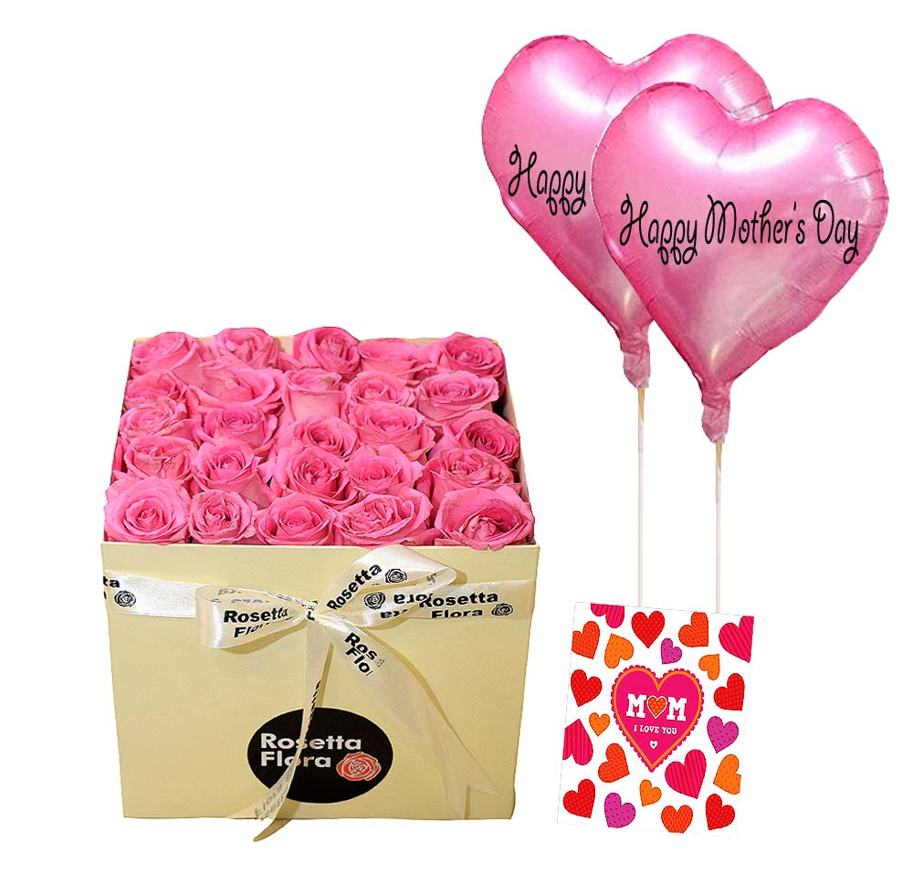 25 Pink Roses Box with Balloons | Send Birthday Flowers Gifts to Pakistan